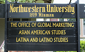 Photo of the sign outside of the Asian American Studies Program building