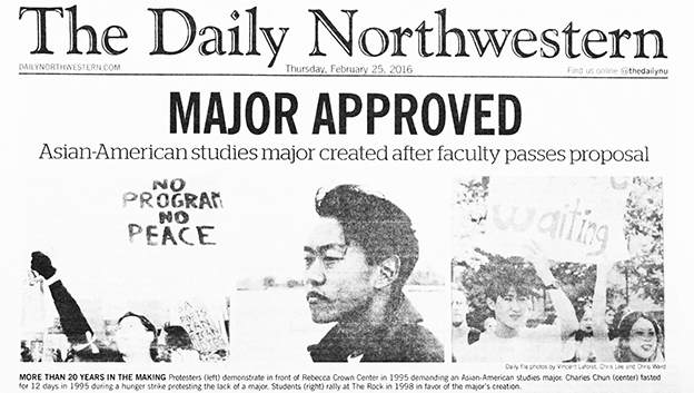 Photo of the Daily Northwestern newspaper with the headline major approved
